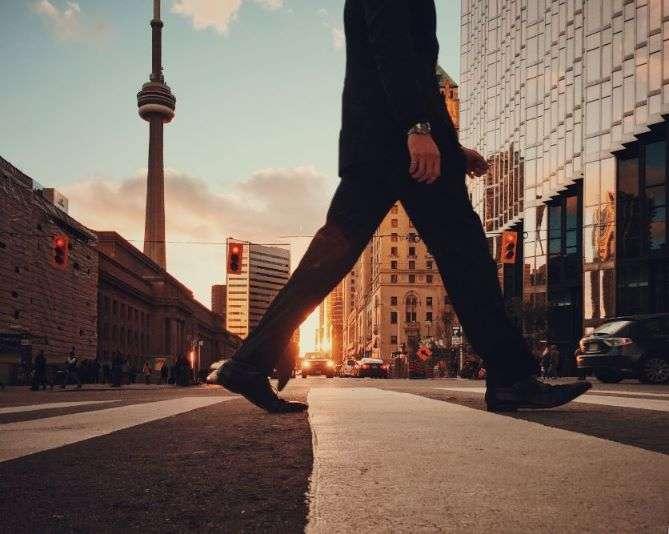 walking in town