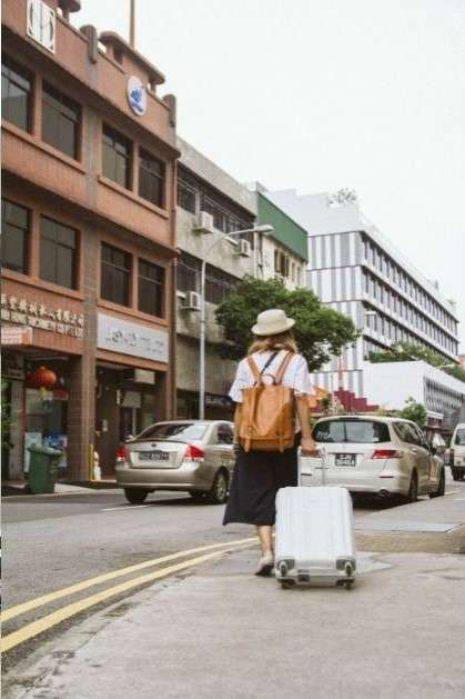 ragazza di spalle che cammina con uno zaino ed un piccolo trolley