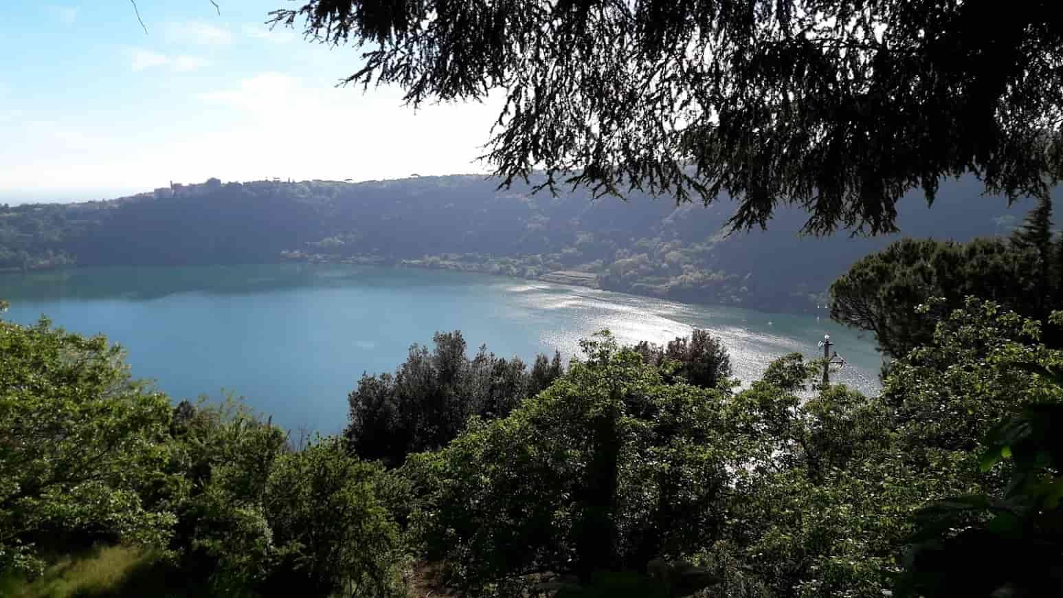 Vista sul Lago contornato da monti ed alberi in primo piano