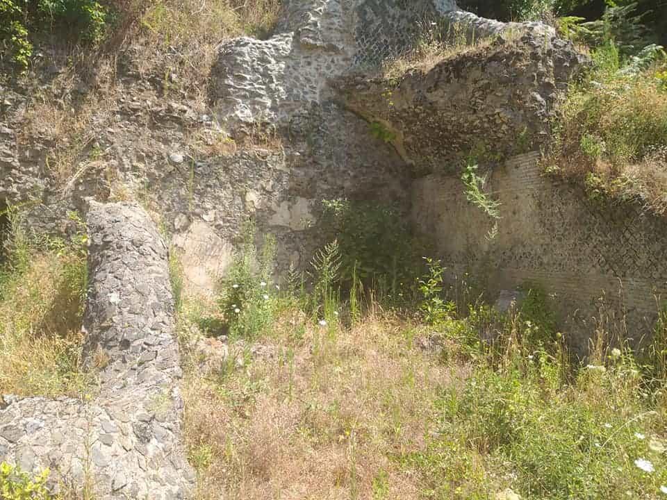 Rovine in pietra tra le erbe di prato dei nicchioni del tempio romano di Diana