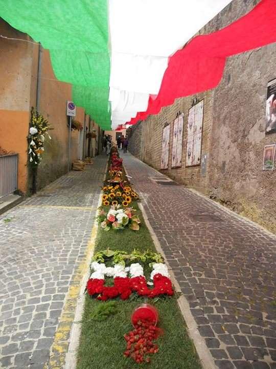 Strada addobbata a festa con fiori e bandiera Italiana