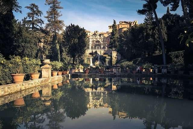 Veduta sulle fonte monumentali di Villa d'Este